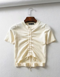 Fashion Beige Pleated Lace T-shirt