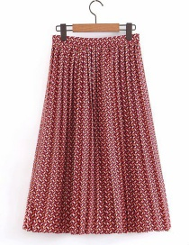 Fashion Red Geometric Floral Print Pleated Skirt