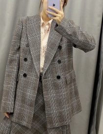 Fashion Gray Plaid Double Breasted Suit