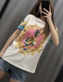 Fashion White Graphic Print Crew Neck T-shirt