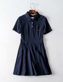 Fashion Navy Embroidered Pleated Panel Dress