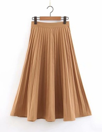 Fashion Brown Yellow Pleated Skirt