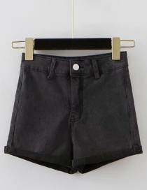 Fashion Gray Washed Curled A-line Shorts