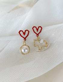 Fashion Red 925 Silver Pin Geometric Love Pearl Trojan Earrings