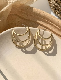 Fashion Multi-layer Semi-circular Gold 925 Silver Pin Geometric Metal Irregular Earrings