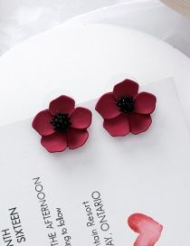 Fashion Red 925 Silver Needle Stereo Flower Earrings