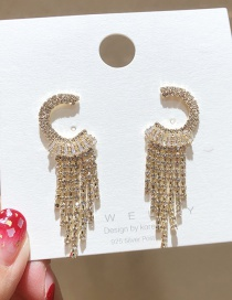 Fashion Golden 925 Silver Pin Semicircular Flash Diamond Tassel Earrings