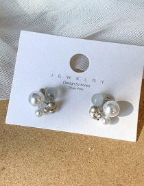 Fashion Silver 925 Silver Pin Geometric Irregular Pearl Stud Earrings