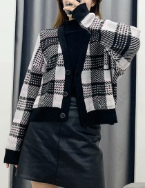Fashion Black Plaid Knitted Sweater