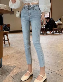 Fashion Light Blue Washed High-stretch Double-button Cropped Jeans