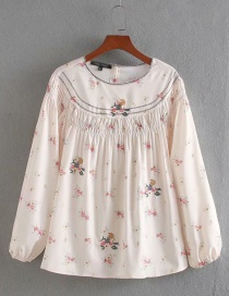 Fashion White Embroidered Printed Pleated Crew Neck Shirt