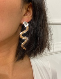Fashion Golden Geometric Round Twisted Alloy Earrings