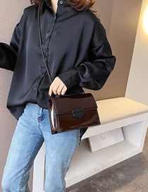 Fashion Coffee Color Patent Leather Chain Lock Shoulder Bag