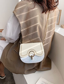Fashion Creamy-white Patent Leather Sequined Chain Shoulder Bag