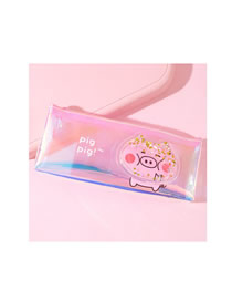 Fashion Standing Pig Standing Pig Laser Quicksand Transparent Student Pencil Bag