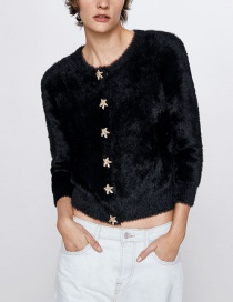 Fashion Black Faux Fur Pentagram Single Button Coat