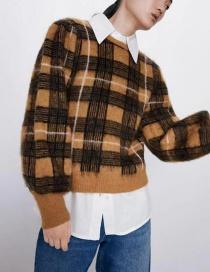 Fashion Yellow Check Round Neck Short Sweater