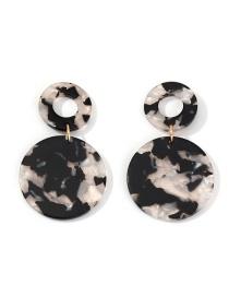 Fashion Black Geometric Hollow Acetate Earrings