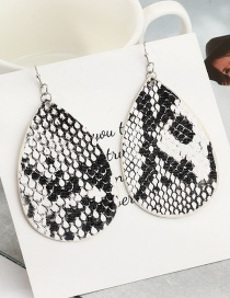 Fashion Snake Pattern Reversible Pu Leather Water Drop Snake Earrings