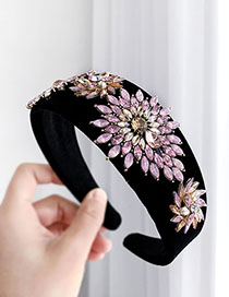 Fashion Pink Alloy Diamond Sun Velvet Headband