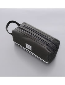 Fashion Gray Large Capacity Pencil Case With Stitching Letters