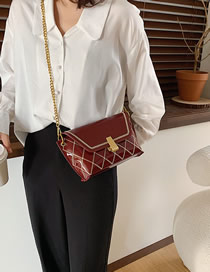 Fashion Red Wine Patent Leather Chain And Shoulder Bag