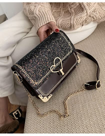 Fashion Burgundy Sequins Patent Leather Sequin Chain Embroidered Flap Shoulder Bag