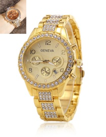 Fashion Golden Neva Diamond-set Three-eye Steel Watch