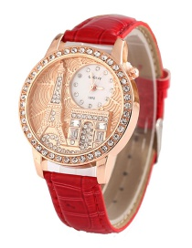 Fashion Red Embossed Eiffel Tower Diamond Watch