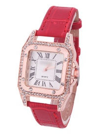 Fashion Red Leather Watch With Square Diamonds