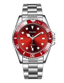 Fashion Red Alloy Steel Band Stainless Steel Watch