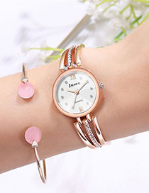 Fashion Rose Gold With White Surface Slim Diamond Watch With Steel Band
