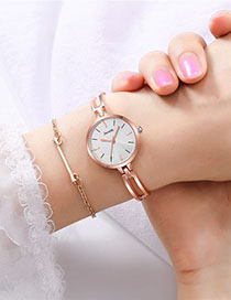 Fashion Rose Gold With White Surface Small Dial Steel Band Quartz Bracelet Watch
