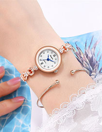 Fashion Rose Gold With White Surface Bracelet Watch With Diamonds And Snowflakes On Quartz Steel