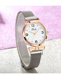 Fashion Silver With White Surface Diamond Watch With Diamond Magnet