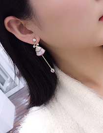 Fashion Golden S925 Sterling Silver Pin Princess Skirt Peach Heart Earrings
