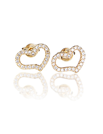 Fashion Gold-plated White Zirconium Copper Plated White Zirconium Color Zirconium Twisted Heart-shaped Stud Earrings
