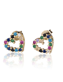 Fashion Color Zirconium Copper Plated Small Heart-shaped White Zirconium Color Zirconium Earrings