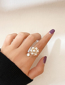 Fashion Golden Pearl Open Diamond Ring