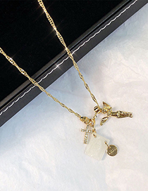 Fashion Golden White Butterfly Shell Square Angel Letter Necklace
