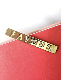 Fashion Single Gold Gold Glossy Letter Clip