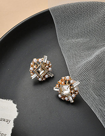 Fashion Golden Geometric Metal Pearl Earrings With Diamonds