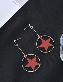 Fashion Red Pentagram Geometric Frosted Earrings