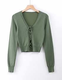 Fashion Army Green V-neck Chest Tie Knit Bottoming Shirt
