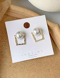 Fashion Golden Pearl Metal Square Stud Earrings