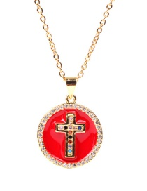 Fashion Red Ship Anchor Cross Round Drip Zircon Stainless Steel Necklace