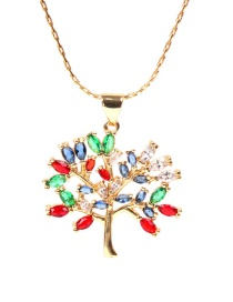 Fashion Golden Colorful Tree Of Life Stainless Steel Necklace