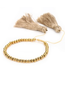 Fashion Golden Rice Beads Woven Eyes And Lips Crystal Bracelet