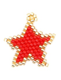 Fashion Gold + Red Rice Beads Woven Big Five-pointed Star Pattern Accessory