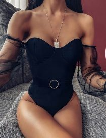Fashion Black Mesh Sleeve One Piece Swimsuit